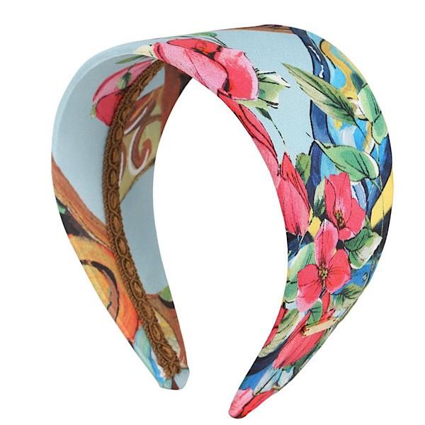 Dolce & Gabbana Wide Silk Twill Scarf Printed Headband