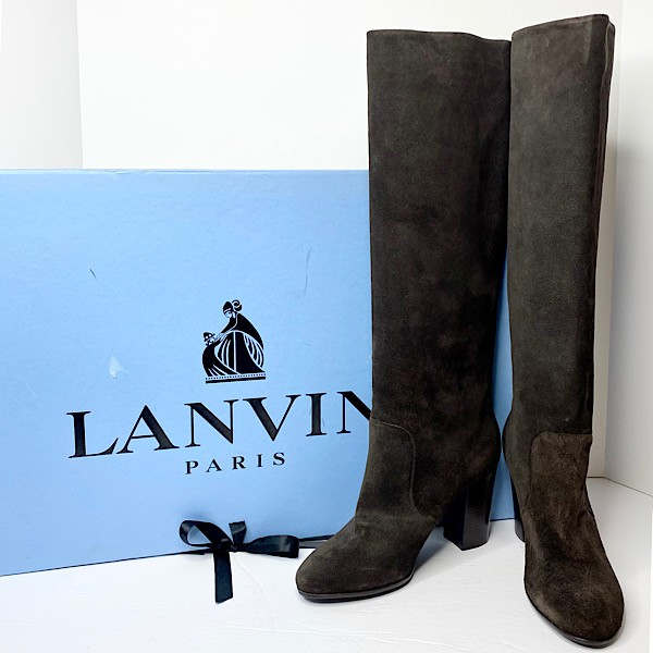 Lanvin Knee High Suede Pull-On Boots - SZ 37