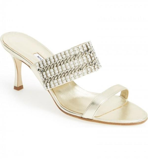 Manolo Blahnik 'Telostrap' Metallic Leather Sandal