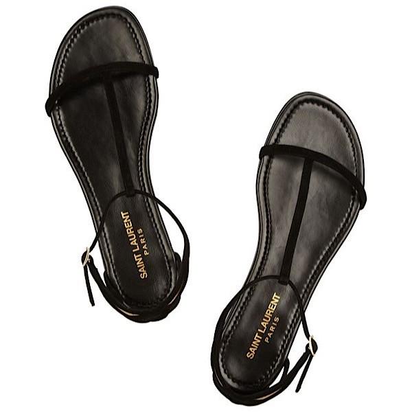 Saint Laurent 'Janis' Suede & Metallic Leather Flat Sandals - SZ 39.5