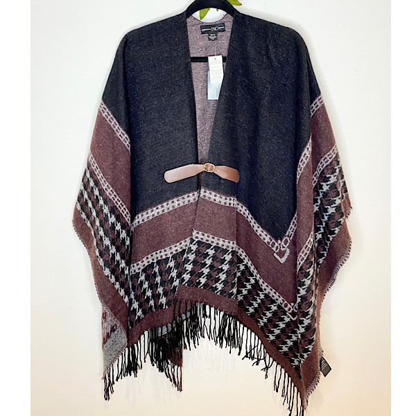 INC International Concepts Colorblock Fringe Poncho