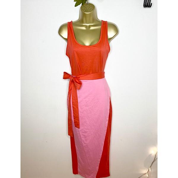 Never Fully Dressed Spliced Jersey Wrap-Skirt Dress