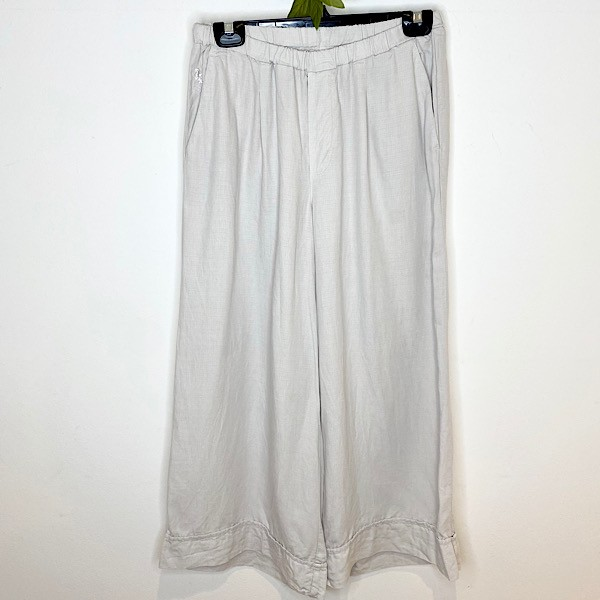 European Culture Linen Blend Cropped Pants