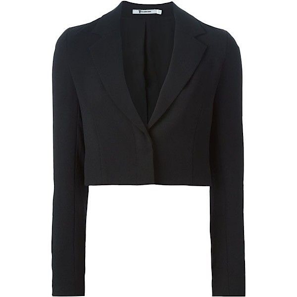 T by Alexander Wang Cropped One-Button Blazer
