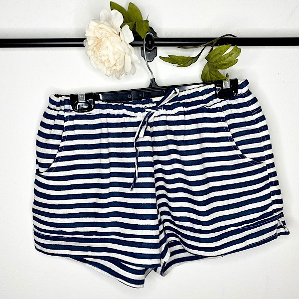 FROCKK Handcrafted Railway Striped Linen Shorts