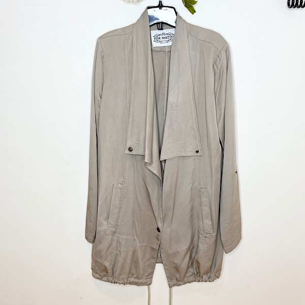Pink Martini Draped Front Lightweight Trench Coat