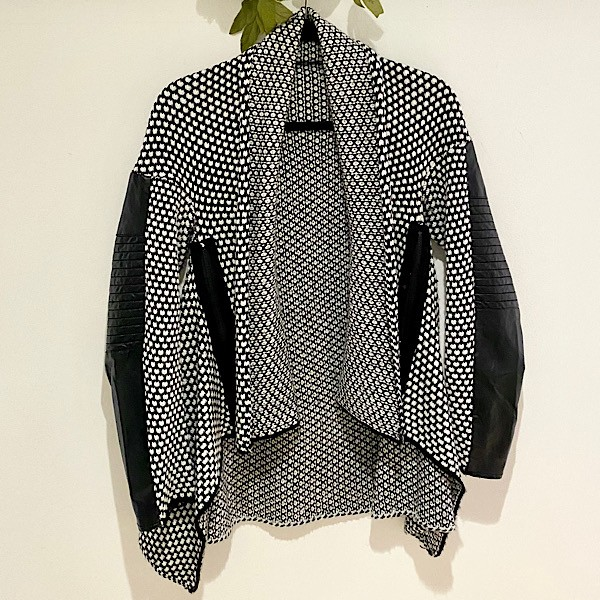 Femme Faux Leather Sleeve Cardigan
