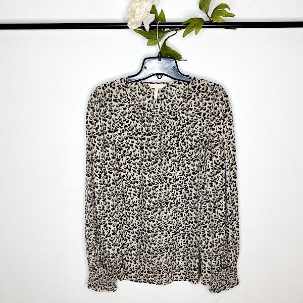 Rebecca Taylor Leopard Print Silk Blouse