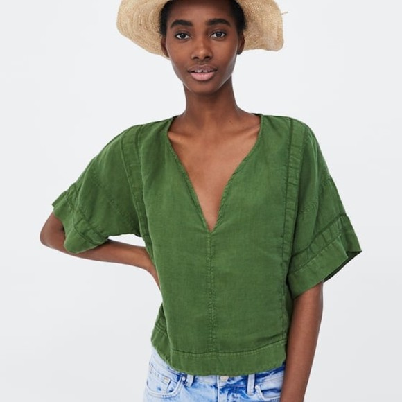 Zara V-Neck Linen Top