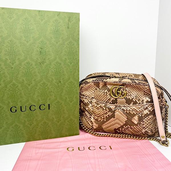 Gucci Pink Python Matelasse Marmont Shoulder Bag