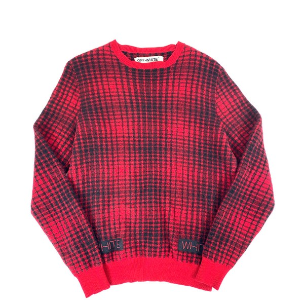Off White - Plaid Geelong Lambs Wool Sweater Sz. M