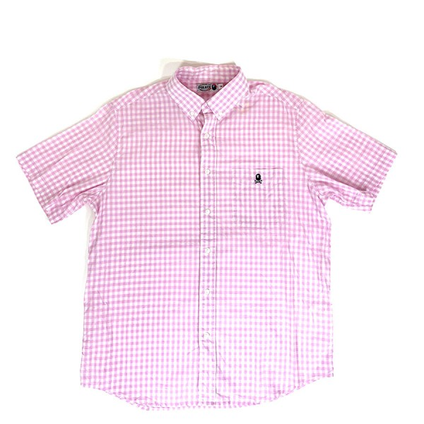 Bape - Pink Checkered Ape Button-up Sz. XL