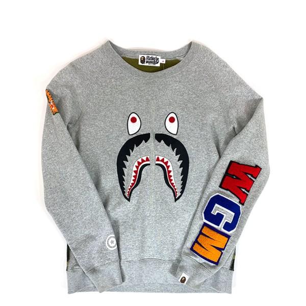 Bape - Camo Back Panel Applique Shark Crewneck Sz. S