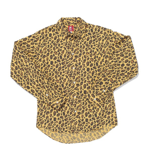 Bape - Leopard Print Ape Head Button Up Sz. L