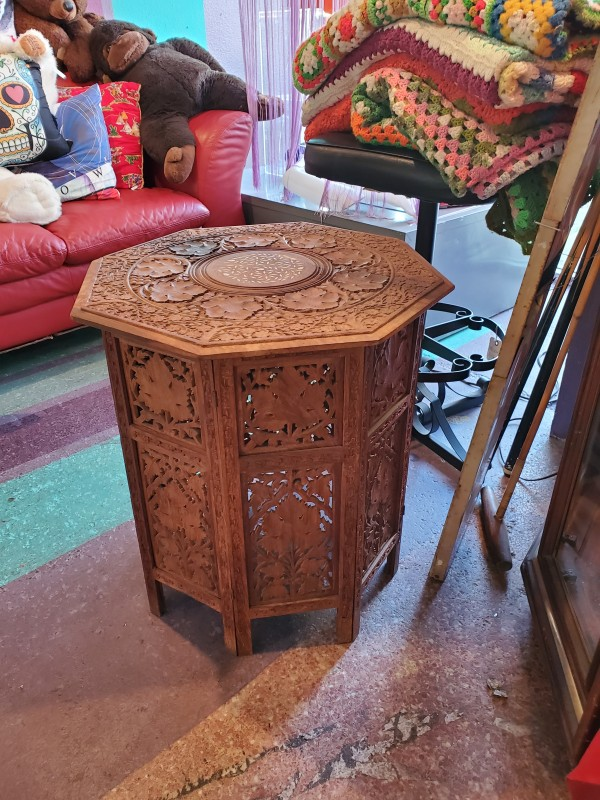 Moroccan wood table with inlay