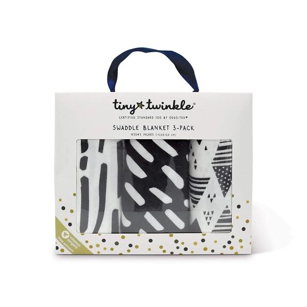 Tiny Twinkle Swaddle Blanket - Black & White Set of 3