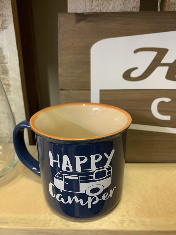 Happy camper canteen style mug  blue