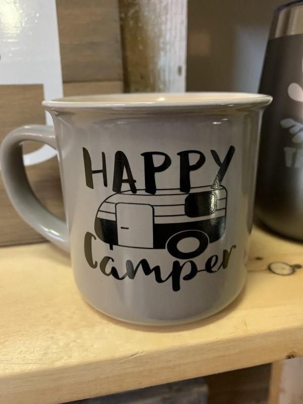 Happy camper canteen style mug grey