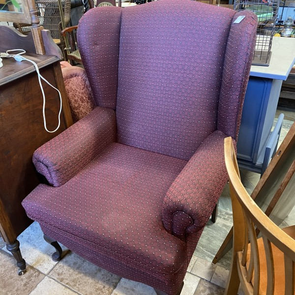Burgundy Wing Back Arm Chair
