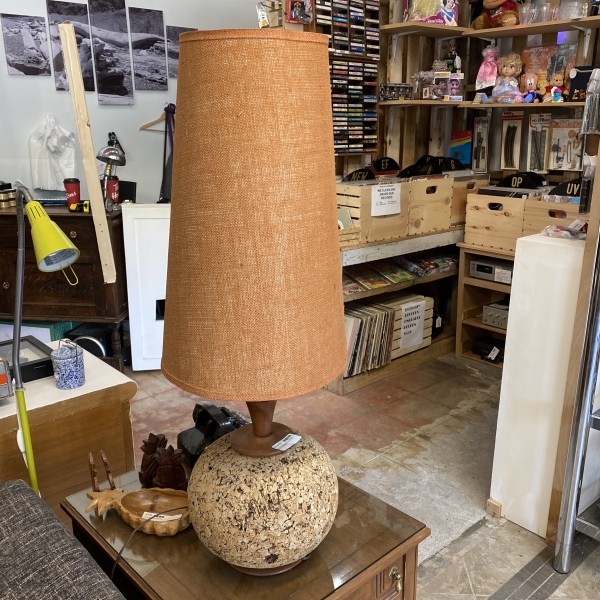 Pair of Mid Century Lamps Cork and Teak