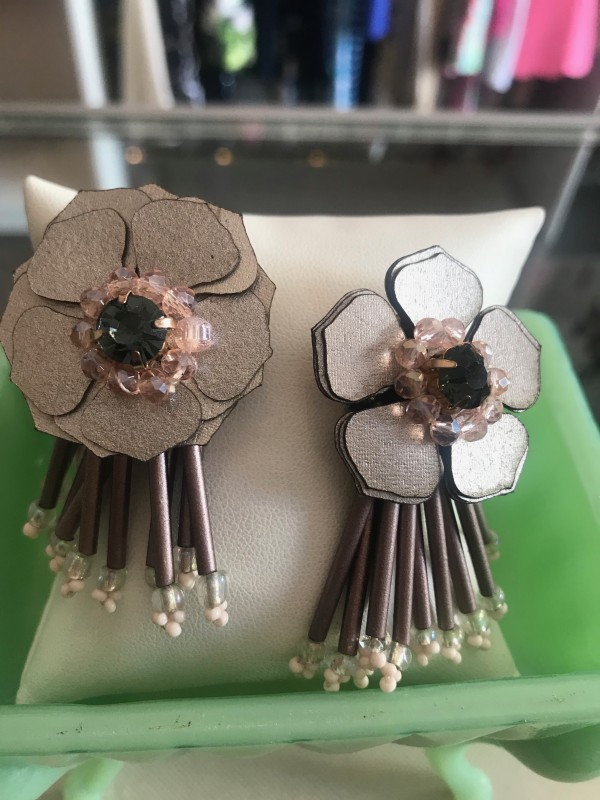 Leather and beaded earrings