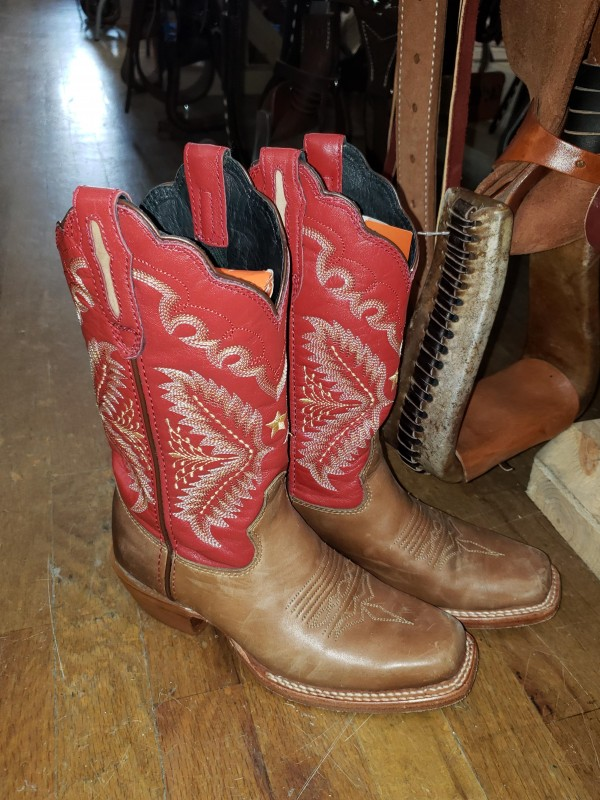 Stetson Tan and Red Square Boot - Size 5