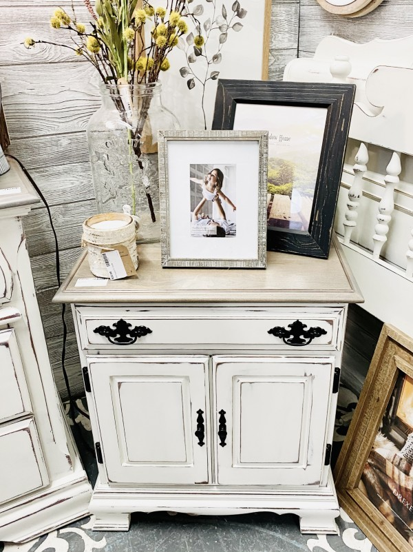 FVH- Weathered Oak Stained Top Nightstand