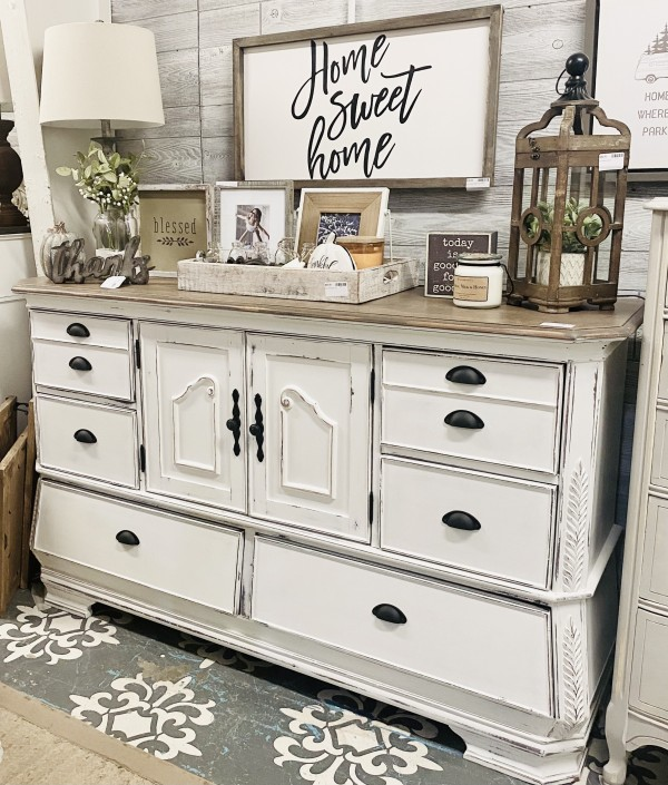 FVH- Stained Top Tall Dresser/ Buffett