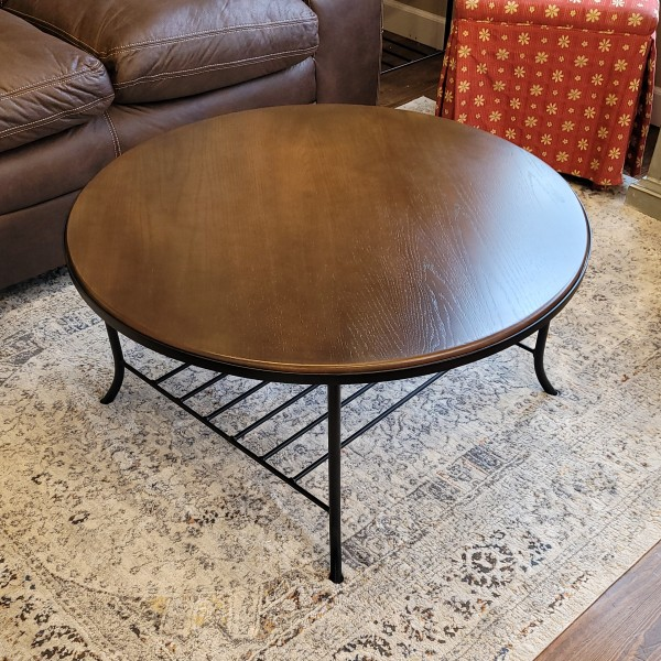 Round Cherry Coffee Table with Metal Base~NEW