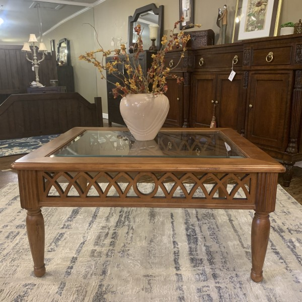 Wood Cocktail Table w/glass Sherrill Furniture