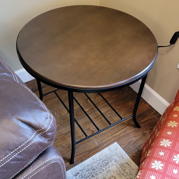 Round Cherry End Table with Metal Base~NEW
