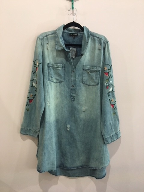 7d2969800a6 Distressed Denim Button Down with Floral Embroidery