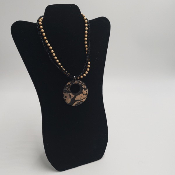 3 Strand Bead Necklace w/Large Wood pendant