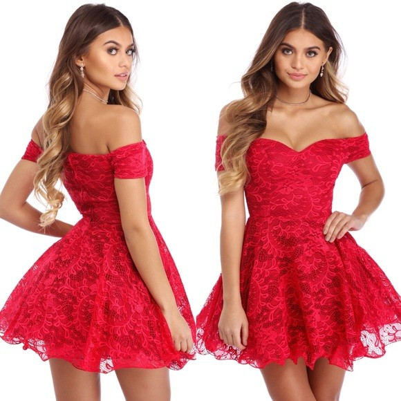 Windsor red lace off the shoulder