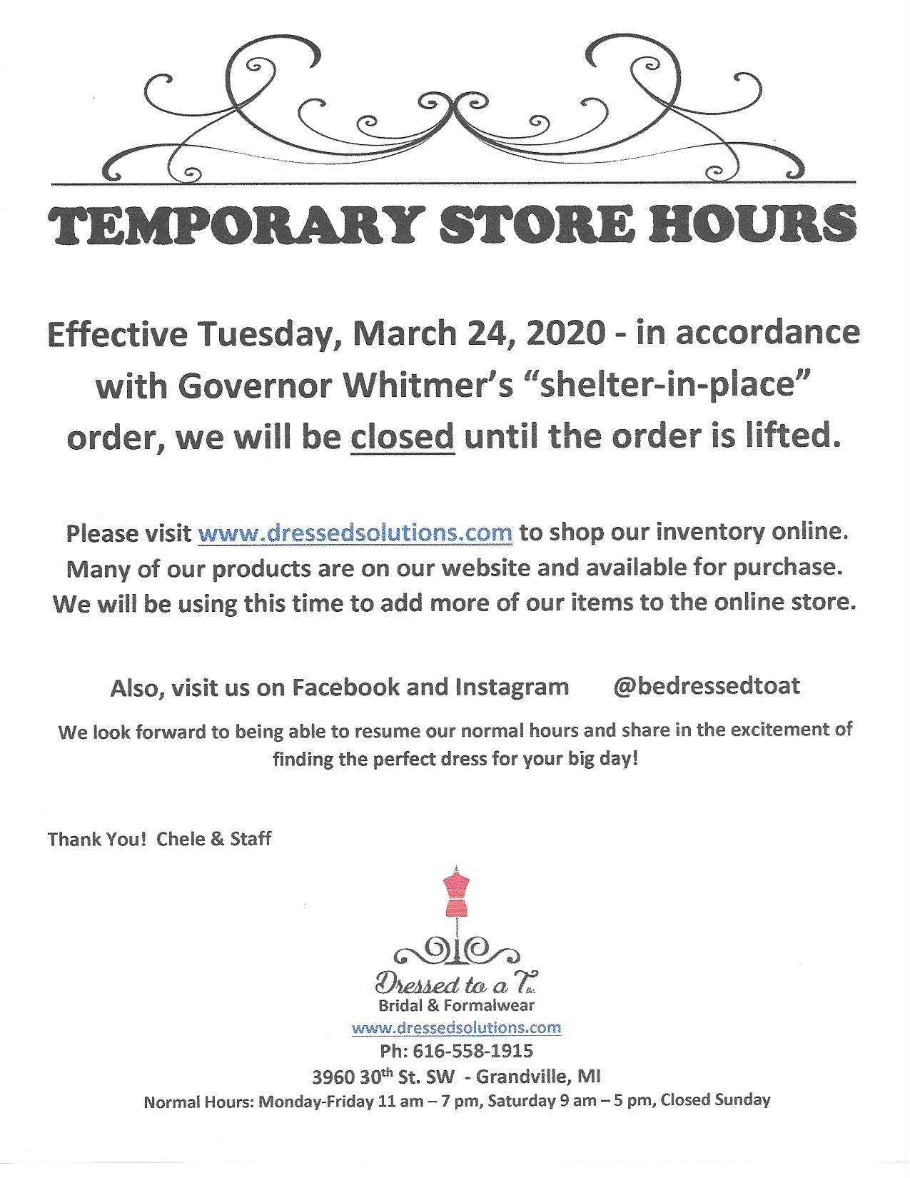 Temporary Store Hours - CLOSED