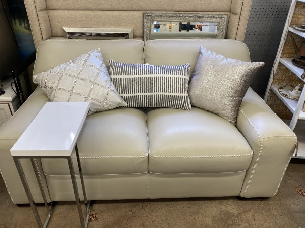 Top Grain Leather Ivory Sofa