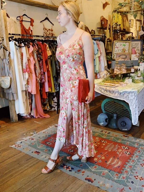 Lulus Pink and Green Floral Front Split Dress