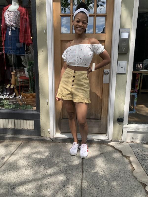 CAPULET Yellow Check High Waist Ruffle Shorts