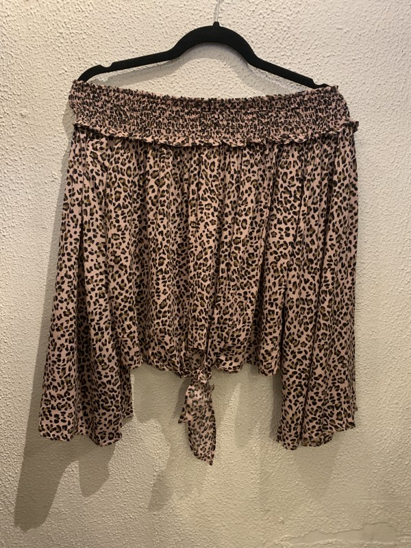 Free people movement pink leopard top