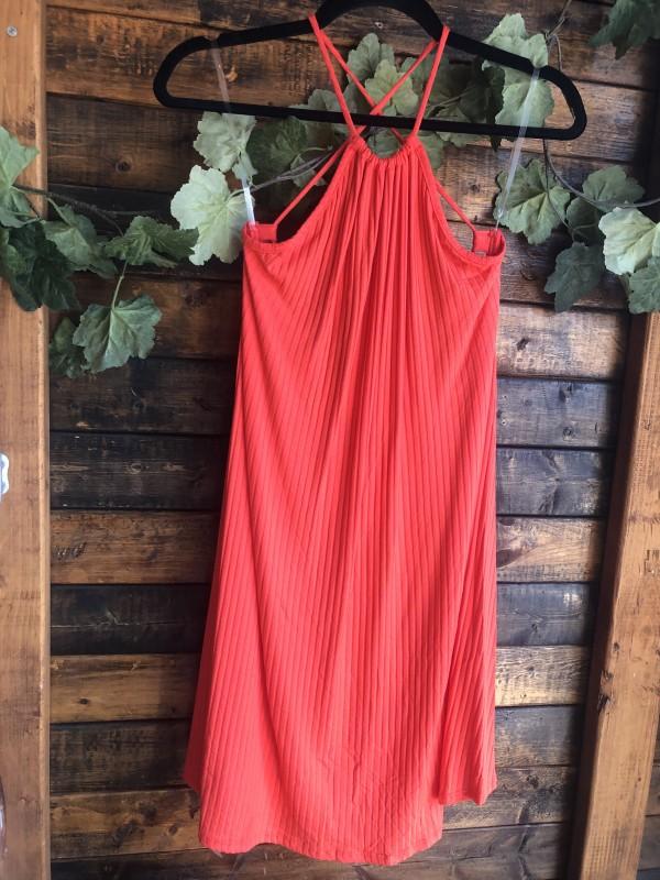 Free people coral ribbed tank dress