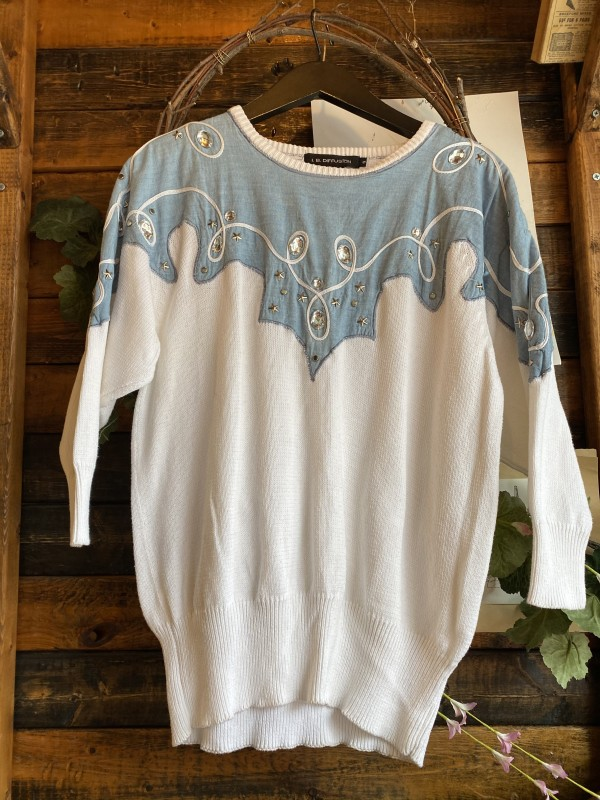 IB DIFFUSION Light Blue White Sweater With Gems