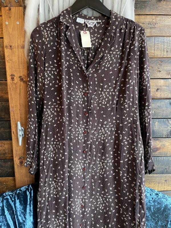 Vintage enar brown cream floral button down 100% silk shirt dress
