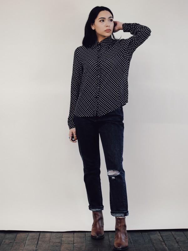 LUMIERE Black Tan Pattern Shirt