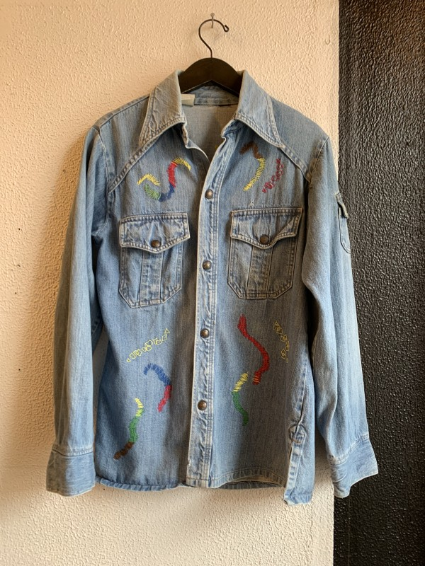 VNTG LEVIS Hand Embroidered Denim Top