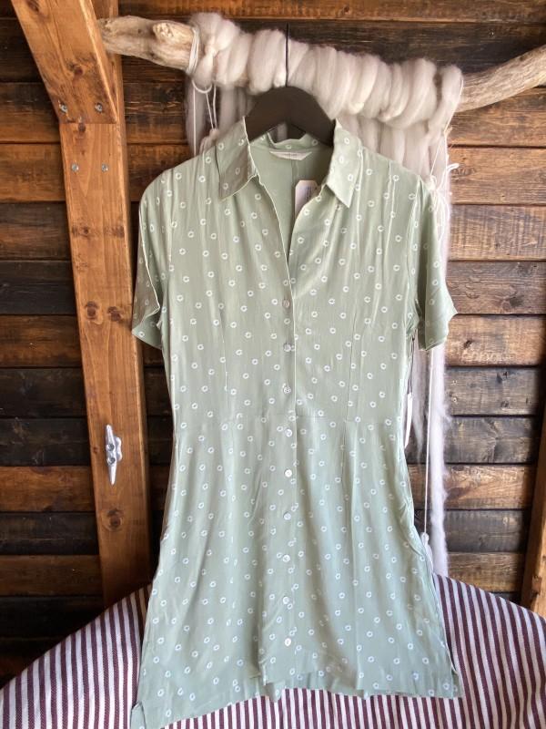 CAPULET Pastel Green White Design Button Down Dress