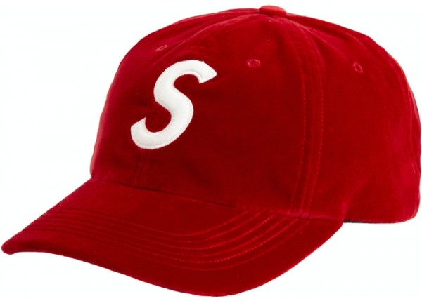 SUPREME VELVET S LOGO 6-PANEL RED