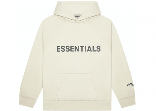 FEAR OF GOD ESSENTIALS 3D SILICON APPLIQUE PULLOVER HOODIE BUTTERCREAM