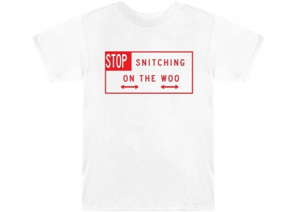 POP SMOKE X VLONE STOP SNITCHING T-SHIRT WHITE/RED