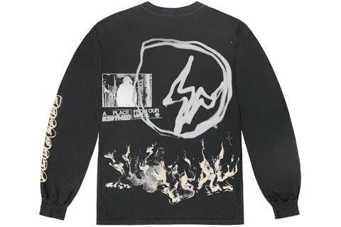 Travis Scott Cactus Jack For Fragment Logo L/S T-shirt Washed Black
