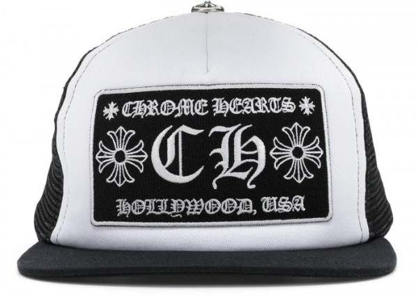 CHROME HEARTS CH HOLLYWOOD TRUCKER HAT BLACK/WHITE